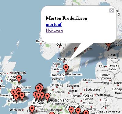 Freebase-brugere på Google Maps